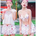 Set: Floral Bikini Top + Lace Top + Swim Skirt
