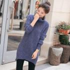 Turtleneck Zip-accent Wool Blend Long Sweater