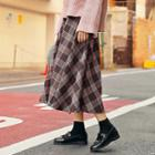 Band-waist Checked Flare Skirt