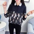 Cat Patterned Chiffon Blouse