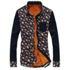 Long-sleeve Fleece Lined Printed Panel Shirt