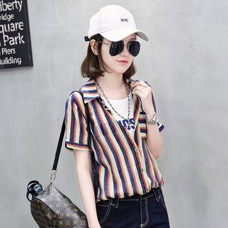 Mock Two Piece Striped Short Sleeve Shirt