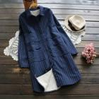 Striped Fleece-lined Long Shirt