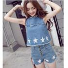 Set: Star Print Denim Tank Top + Buttoned Denim Shorts