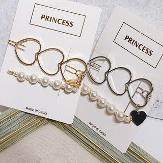 Set: Faux Pearl / Heart Hair Pin (assorted Designs)