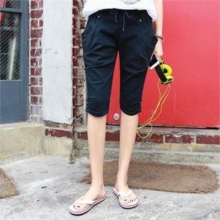Drawstring-waist Shirred Shorts