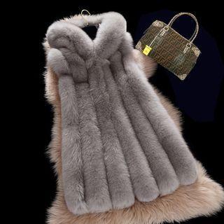 Faux Fur Hooded Long Vest