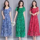 Short-sleeve Leaf Print Maxi A-line Dress