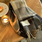 Fringed Plaid Woolen Muffler Scarf