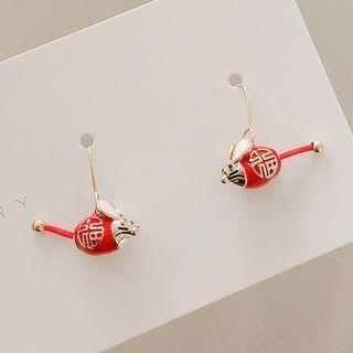 Alloy Lunar New Year Mouse Dangle Earring 1 Pair - Red - One Size