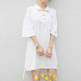 3/4-sleeve Letter Mini Polo Dress