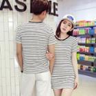 Couple Matching Stripe Short-sleeve T-shirt / T-shirt Dress
