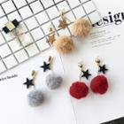 Pompom-accent Star Earrings
