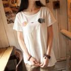 Short-sleeve Embroidered-fish T-shirt White - One Size