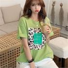 Leopard Print Letter T-shirt