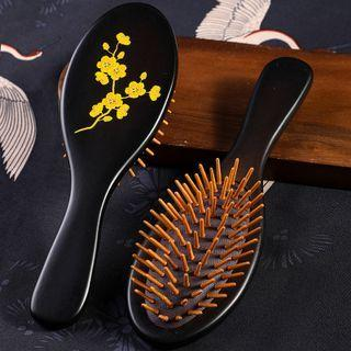 Wooden Hair Brush Black & Brown - One Size