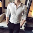 Plaid Panel Elbow-sleeve Shirt