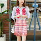 Set: Embroidery Shirt + Fringed Pencil Skirt