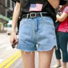 Plain Fringed Denim Shorts
