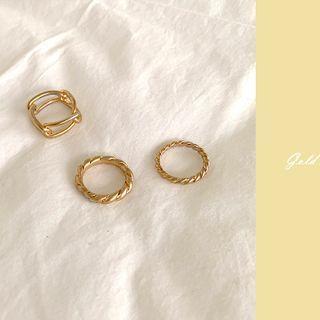 Twisted Ring Set (3 Pcs) Gold - One Size