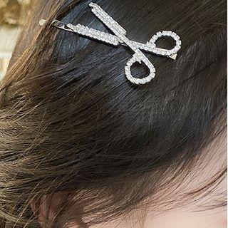 Scissors Rhinestone Hair Clip Silver - One Size