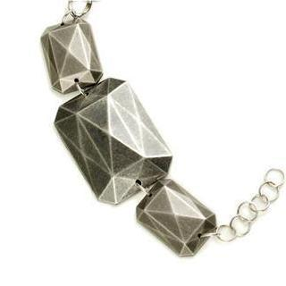Dark Silver Hard Rock Metallic Block Bracelet