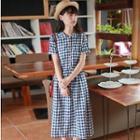 Short-sleeve Check Midi Dress