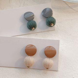 Wooden Disc Bobble Dangle Earring