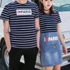Couple Matching Striped Short-sleeve T-shirt / Denim Panel Short-sleeve T-shirt Dress