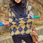 Boyfriend-fit Argyle Sweater
