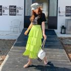 Band-waist Colored Tiered Skirt