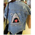 Distressed Shark Print Denim Jacket