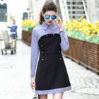 Striped Panel Collared Dress