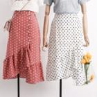 Asymmetric-ruffled Dotted Midi Skirt