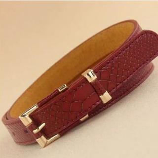 Faux Leather Croc-grain Belt