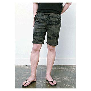 Band-waist Camouflage Pattern Shorts