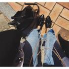 Slit-hem Washed Jeans