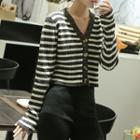 Cropped Striped Cardigan