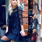 Lace Panel Elbow-sleeve Velvet Dress