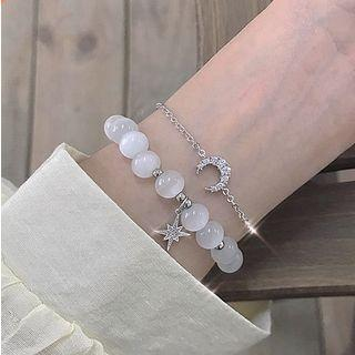 Rhinestone Moon & Star Cat Eye Stone Bracelet
