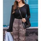 Bell-sleeve Wrap-front Top