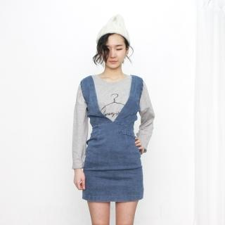 V-neck Denim Jumper Dress