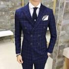 Suit Set: Check Double-breasted Blazer + Dress Vest + Dress Pants