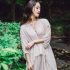 3/4 Sleeve Drawstring Gathered-waist V Neck Asymmetric Dress
