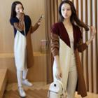 Contrast-color Long Cardigan