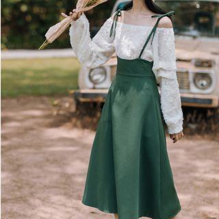 Set: Off-shoulder Shirred Blouse + Overall Skirt + Bandeau