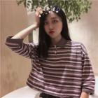 Elbow Sleeve Striped Polo Shirt