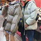 Applique Hooded Zip Padded Jacket