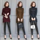 Long-sleeve Turtleneck Long Lace Top