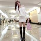 Long-sleeve Off-shoulder Knit Dress